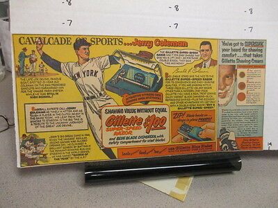 newspaper ad 1950s baseball JERRY COLEMAN NY YANKEES Gillette razor blades