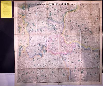 c1880 ENVIRONS OF LONDON 25 MILES ROUND Antique Folding Map by Stanford