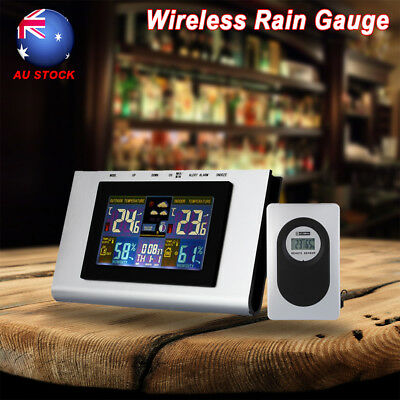 Wireless Digital LCD Weather Station Temp Thermometer Alarm Clock Indoor/Outdoor