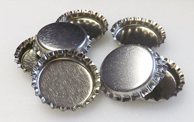 10 x Linerless 1'' Silver Chrome Bottle Caps No Liners DIY, craft, 2.5 cm