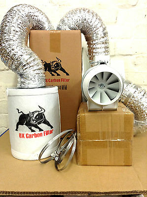 """Carbon Filter Fan Kit Extractor Inline Duct 4"""" 5"""" 6"""" 8"""" for grow tent light heat"""