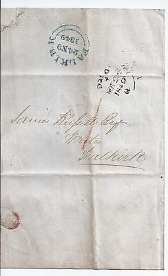 1849 Falkirk entire - fine blue strike