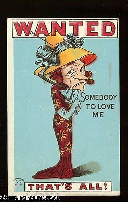 Wanted Somebody to Love Me That's All Comic Embossed Antique 1911 Postcard 311
