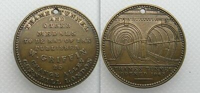 Collectable 1843 Thames Tunnel Medal - W Griffin London - Holed