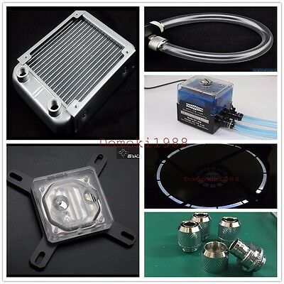 Water Cooling 120mm Radiator Pump Fan Block Complete Kit For Intel 115X silver