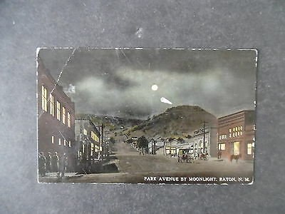 1910s Raton New Mexico Street Scene at Night Postcard
