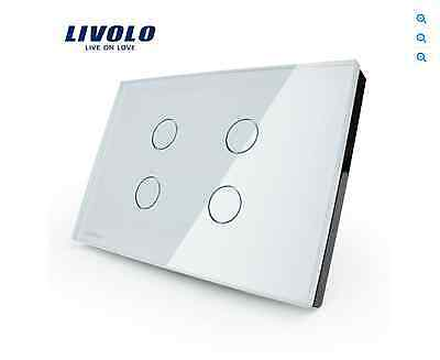 Crystal Glass Touch Panel/ Remote Control Wall Switch 4 gang (white)