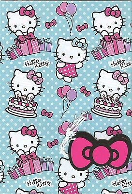 Official Hello Kitty 2 Sheets Of Gift Wrapping Paper &2 Gift Tags*free 1St P&p