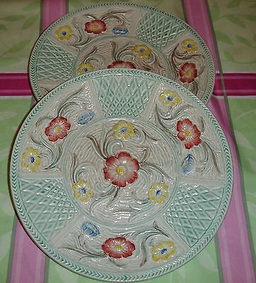 ALEXANDRA POTTERY H J WOOD LTD 1940's 2 x English Floral Embossed Plates SUPERB