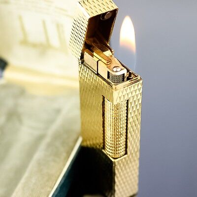 Auth DUNHILL Lighter Made in Swiss Gold Plated Working Properly with Box