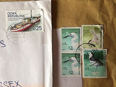 Stamps - South Korea (birds) and Czech (boat)