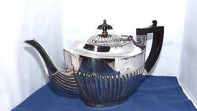 Silver Plate Fluted Teapot Queen Anne Style E.P.B.M