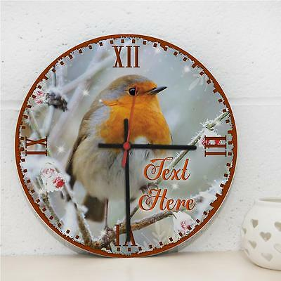 Personalised Robin Bird Winter Red Hanging Kitchen Wall Clock Gift RC147