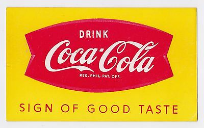 1960's PHILIPPINE PROMOTIONAL COCA-COLA FISHTAIL INK BLOTTER - VERY RARE