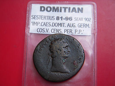 Domitian 81-96 Sestertius Sear 902Rev Jupiter Seated Holding Victory  [147]