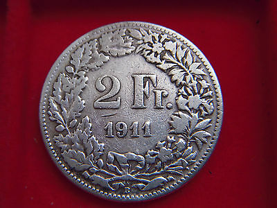 1911 B Silver Two Franc Coin From Switzerland From My Collection