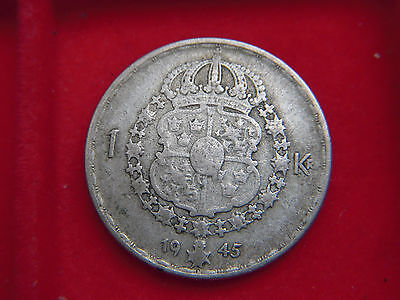 1945 One Krona Coin From Sweden  From My Collection