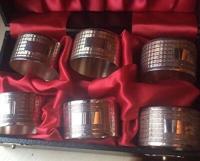 vintage set of six silver plated napkin rings boxed