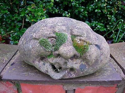 Old Vintage Weathered Small Stone Grotesque Face  Garden Feature (104)