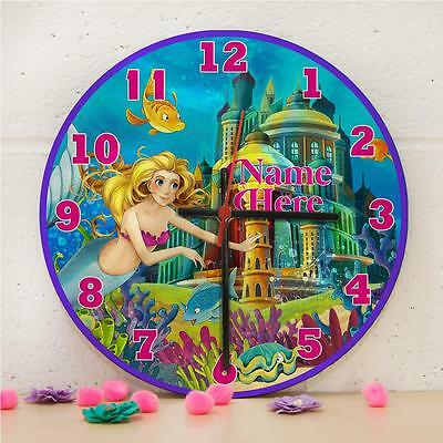 Personalised Little Mermaid Children's Hanging Wall Bedroom Clock Gift RC009