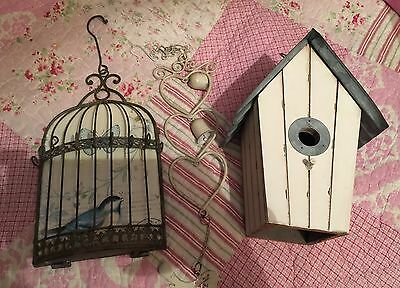 Shabby Chic Bird Cage House Wind Chime Bells Decoration Key Holder Garden