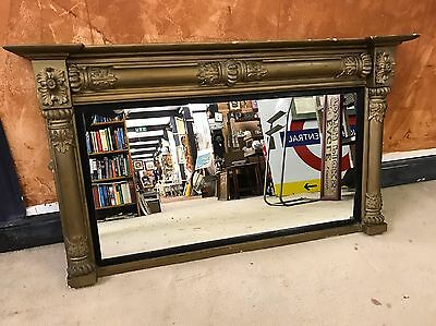 Antique 19th Century Column Acanthus Leaf Gilt Gold Overmantel Wall Mirror