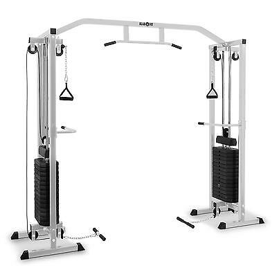 Cable Pull Station Workout Total Body Fitness Home Gym Steel 2 X 170 Lb Silver