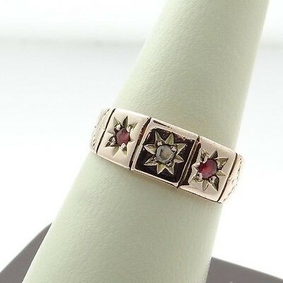 9ct Rose Gold Diamond and Ruby Ring - c1900