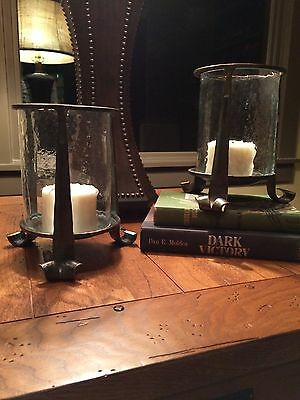 Arts & Crafts Pair Of Candle Holders Hammered Patina Copper Metal