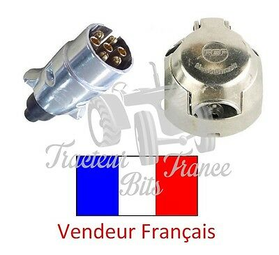 Kit prise remorque : F 7 broches + M 7 broches - 12 V - METAL