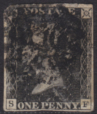"1840 1d BLACK PLATE 7 LETTERS "" S - F "" MIXED MARGINS USED"