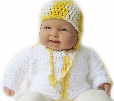 NWT KSS Handmade White/Yellow Cotton Sweater and Hat (6-9 Months) SW-134 on SALE