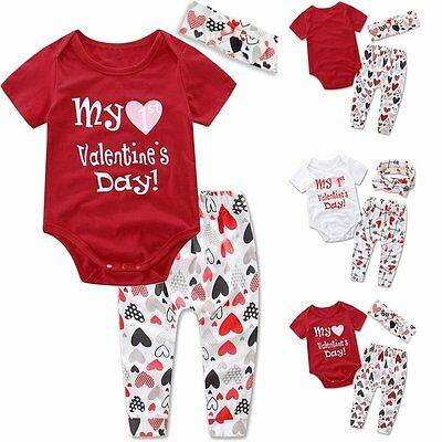 3pcs Newborn Baby Girls Boys Romper Tops+Long Pants+Headband Clothes Outfit Set