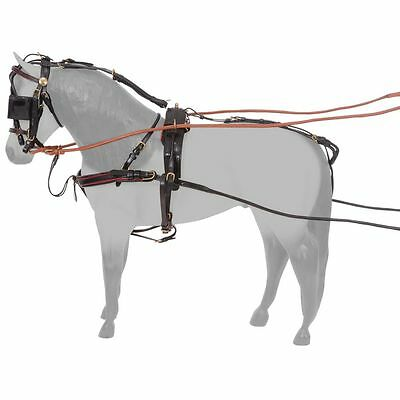 Tough 1 Silver Royal Adjustable Leather Miniature Horse Show Harness Black
