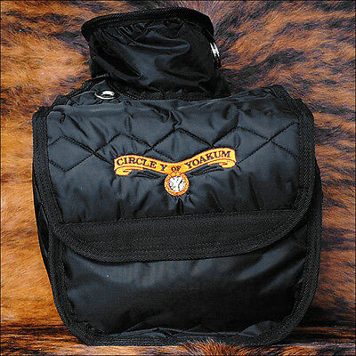 13X9X6 Circle Y 420D Nylon Horse Quilted Cantle Saddle Bag Black