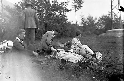 1910s GROUP Antique Photographic Glass Negative (Lunch Picnic Society Outing)