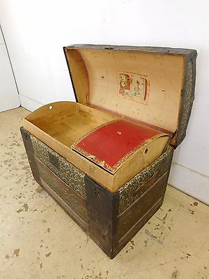 GRUNGIE 1890s Antique Victorian Steamer Steamship Luggage Wood Iron Trunk w Tray