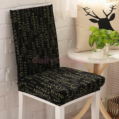Letters Pattern Stretch Dining Chair Cover Banquet Seat Slipcover Wedding