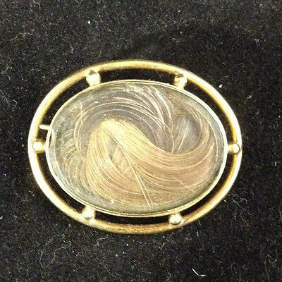 10K Gold Oval Victorian Mourning Hair Pin Brooch Or Pendant