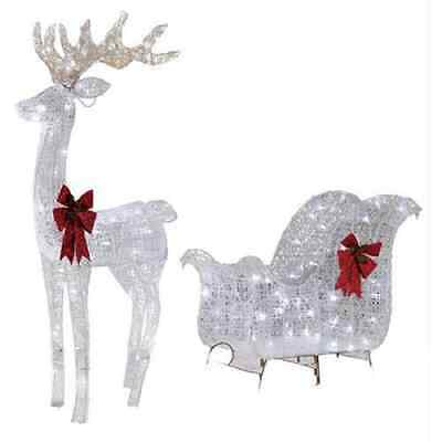 Holiday Time Christmas Decor 52IN REINDEER & 40IN SLEIGH WITH 120 WHITE LED LIGH