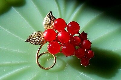VINTAGE Floral Red Grape Jelly Belly Gold Filled Brooch Pin 2""