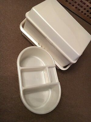 Baby's Cream Nappy Storage Box And Matching Top And Tail Bowl