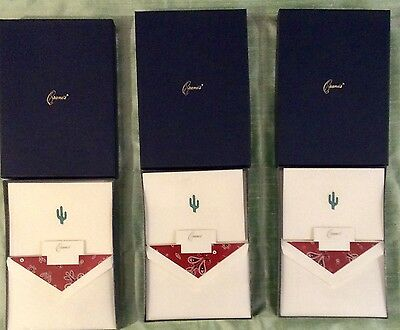 Crane's Notes & Envelopes; Engraved Cactus Pearl White Rn1901; 3 Boxes Unopened