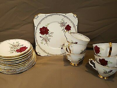 Royal Stafford Roses to Remember - 6 x trios and cake/sandwich plate