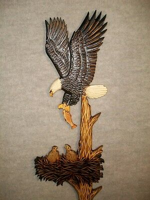 Hand Carved BALD EAGLE w/ FISH & EAGLETS in NEST Wall Art Chainsaw Wood Carving