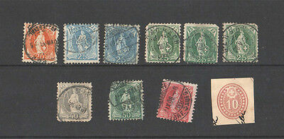 1882 - Switzerland - Ten Used Stamps - Good Used Stamps