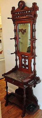 Antique Eastlake Hall Tree With Umbrella Holders by C. Blake, Coat and Hat Hooks