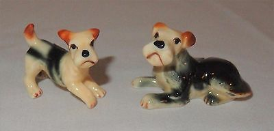 Vintage Bone China Miniature Terrier Dog Figurines Set Of 2