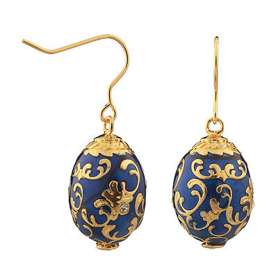 Faberge Egg Earrings with crystals 2 cm blue #2-1502-11