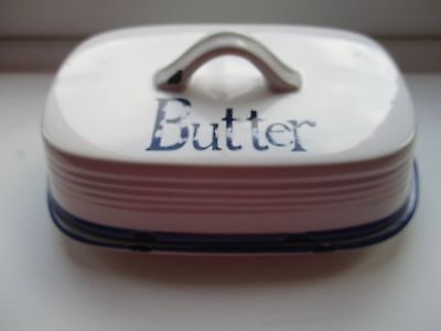 Butter Dish, The Old Pottery Co, Blue and White.